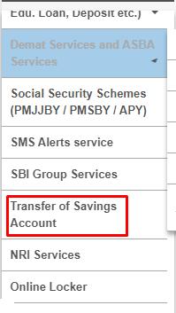 भारतीय स्टेट बैंक खाता Transfer