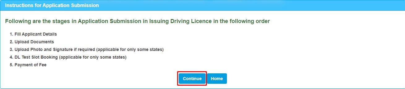 Driving License Online Registration